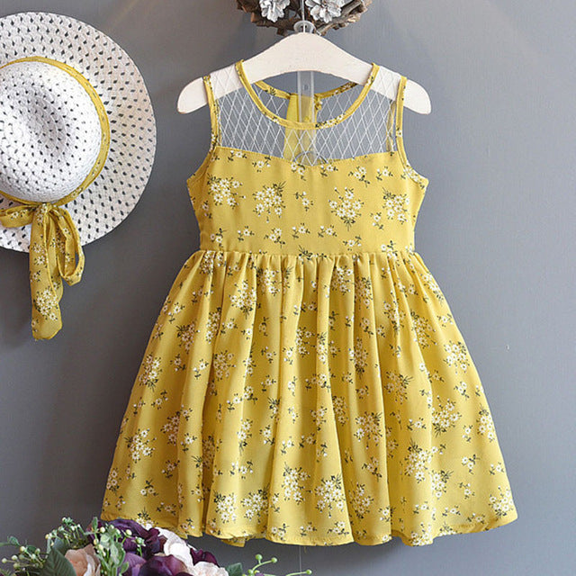 Floral Lace Dress (Yellow or Black) - Darling Little One