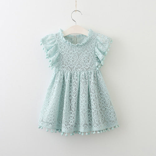 Lace Petal Sleeve Dress (Pink/Yellow/Blue)
