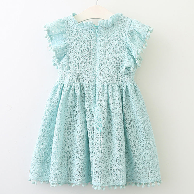 Lace Petal Sleeve Dress (Pink/Yellow/Blue) - Darling Little One