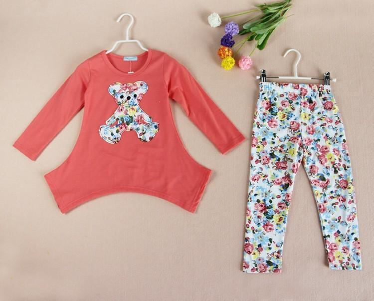 Bear Shirt with Flower Leggings (more colors) - Darling Little One