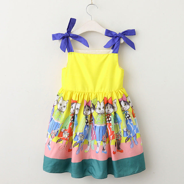 Bow Sleeve Cat Dress (2 Colors) - Darling Little One