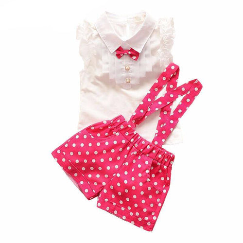 Polka Dot Overalls with Ruffle Shirt (more colors) - Darling Little One