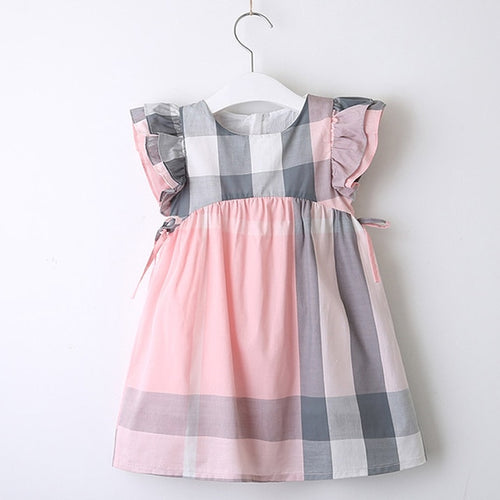 Pink Plaid Ruffle Sleeve Dress - Darling Little One