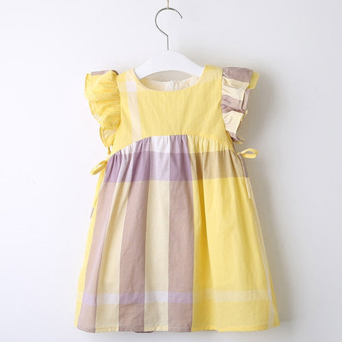 Yellow Plaid Ruffle Sleeve Dress - Darling Little One