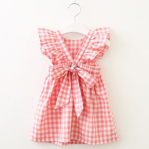 Pink Plaid Big Bow Dress - Darling Little One