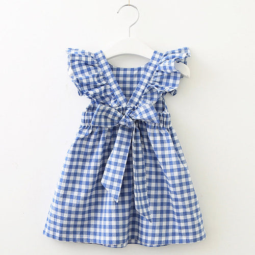 Blue Plaid Big Bow Dress - Darling Little One