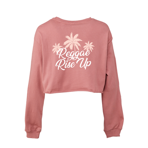 Pink Palm Long Sleeve Crop