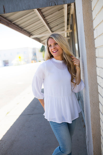 White Peasant Top Blouse with High Neck and Bubble Sleeve
