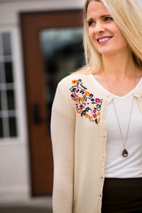18.08.30F Pearled Ivory Embroidered Cardigan