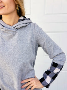 17.20 - Grey Hoodie Tunic with Black Buffalo Print Accent