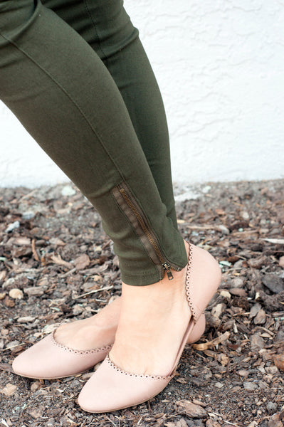 18.09.10i Olive Stretch Pants with Ankle Zipper