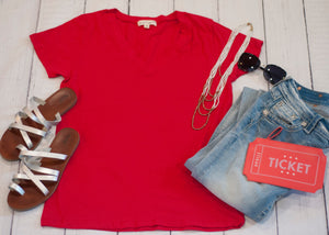 19.SAS Red V Neck Basic Tee