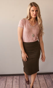 Olive Pencil Skirt *All Sizes*