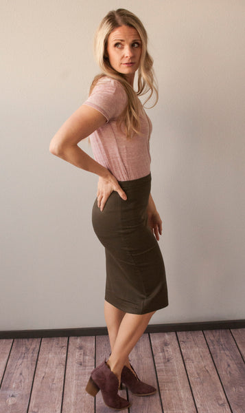 18.07.23 - Olive Pencil Skirt *All Sizes*