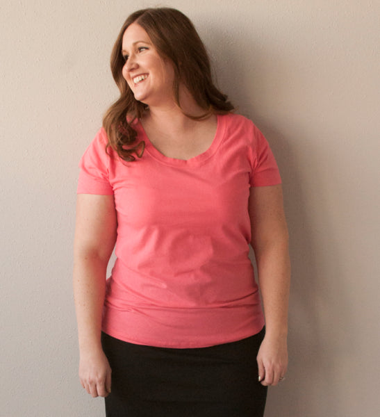 19.SAS - Curvy Red Plain Tee