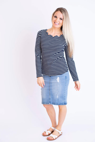 19.02.26B Navy Stripe Top with Scalloped Neck