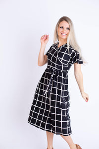 19.03.05D Black Windowpane Dress- Nursing friendly