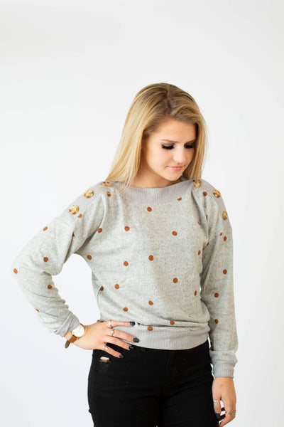 19.01.24H Polka Dots and Buttons Sweater in Grey