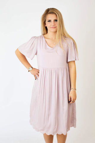 Soft Lilac Scallop Dress