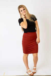Rust Pencil Skirt