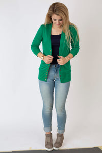 19.02.07D Kelly Green 3/4 Length Sleeve  Cardigan- Curvy