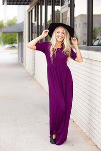 18.09.17i Jeweled Plum Solid Maxi Dress- Curvy