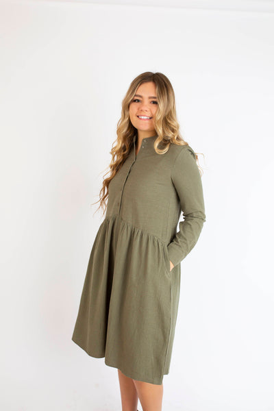 18.12.18G Loden Green Button Up Midi Dress