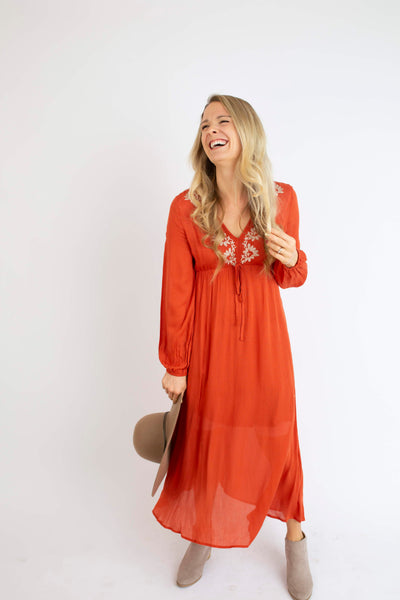 Paprika Embroidered Dress