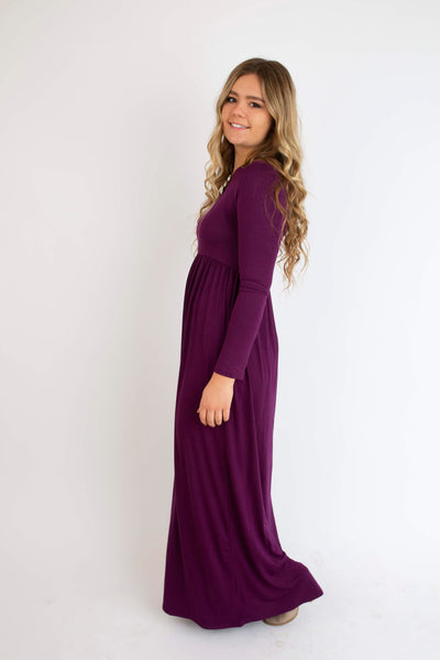 18.12.13C Plum Solid Long Sleeve Maxi Dress- Curvy