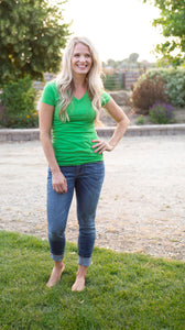 18.07.12F Summer Grass Green V Neck Tee- All Sizes
