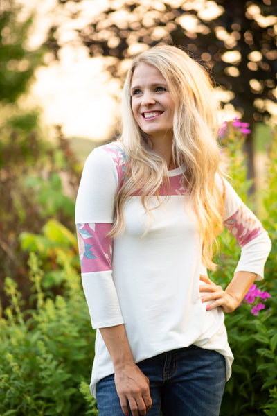 Mulberry Floral Varsity Stripe Top
