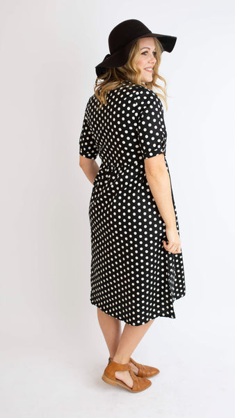 19.01.17C Black Large Polka Dot Dress