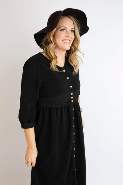 19.01.08F Black Corduroy Dress with Buttons