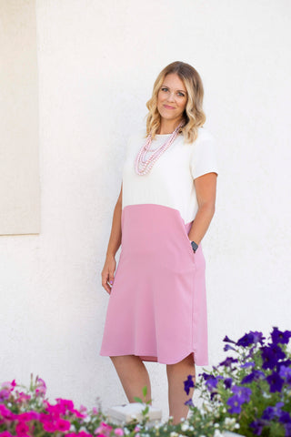 Cream and Pink Color Block Dress