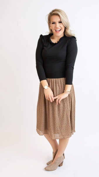19.01.17G Sepia Polka Dot Skirt