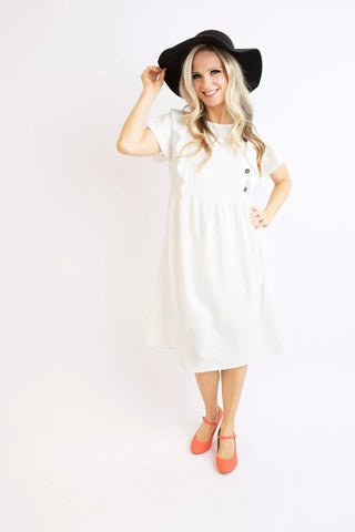 19.01.31H White Pin Stripe Dress with Flutter Ruffle
