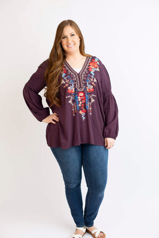 19.02.07G Eggplant Embroidered Blouse with Boho Sleeve- Curvy