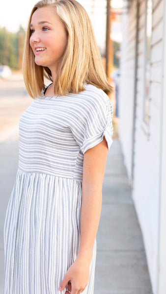 18.08.02G Cinder Grey Stripe Dress