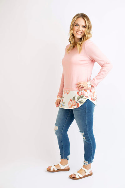 19.01.17F Pink and Floral Faux Layer Top