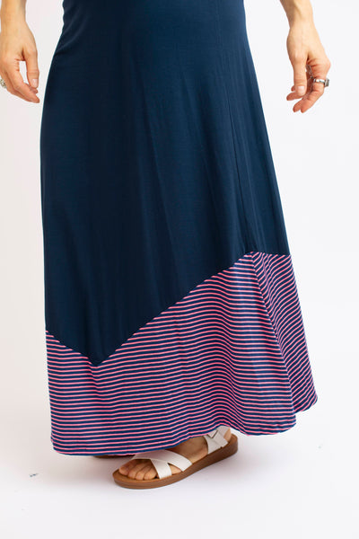 19.02.19g  - Navy and Pink Stripe Maxi Skirt