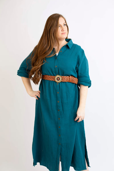 19.02.05I Teal Button Dress- Curvy