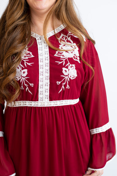 19.01.29H Burgundy Embroidered Dress- Curvy