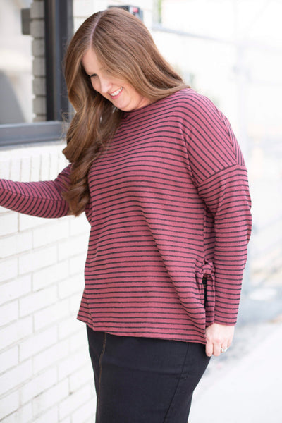 18.08.30C Burgundy and Black Stripe Top with Side Ties- Curvy