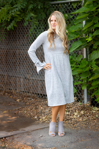 18.08.27F Heathered Grey Sweater Dress with Sleeve Tie