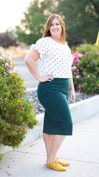 18.08.13A Hunter Green Pencil Skirt- Curvy