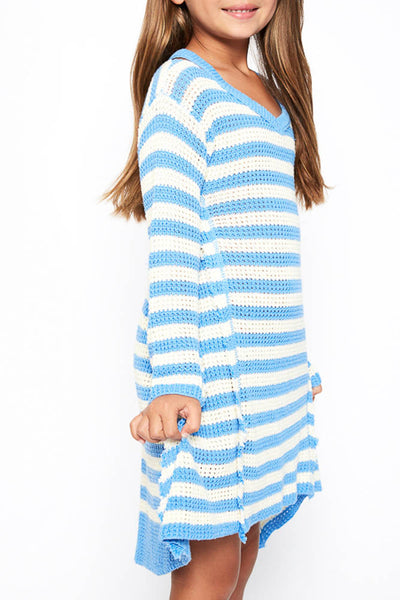 19.02.28G Girls' Peri Blue Stripe Dress
