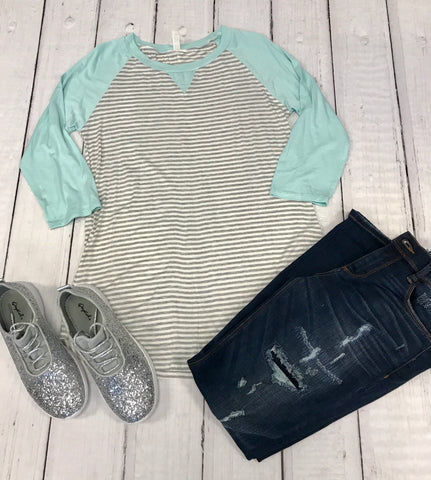 19.SAS Mint and Grey Stripe Top- Regular