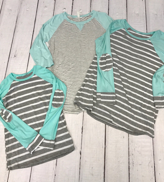 18.07.23 - Mint and Grey Stripe Top- Regular