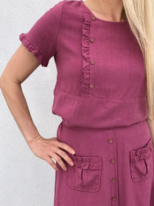 19.SAS Rose Wine Side Ruffle Top