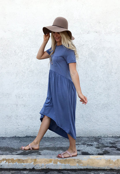 Infinity Blue Hi-Low Pocket Dress
